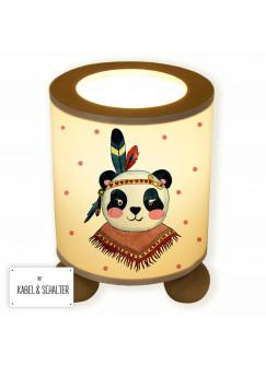 Tischlampe Panda Mädchen Indianer Boho mit Punkten tl050