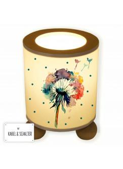 Tischlampe Pusteblume Blume Löwenzahn Aquarell mit Punkten tl054