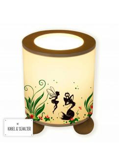 Tischlampe Fuchs Eule und Fee Elfe mit Blumen und Blüten tl061