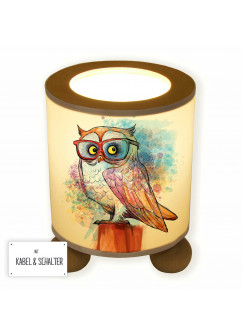 Tischlampe Eule auf Stamm mit Brille Aquarell tl065