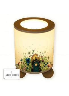 Tischlampe Elfenwiese Lampe mit Elfe Fee und Punkten blau & orange tl077