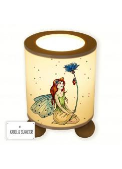 Tischlampe Elfenwiese Lampe mit Fee Elfe Kornblume Marienkäfer und Punkte rosa & maigrün tl078
