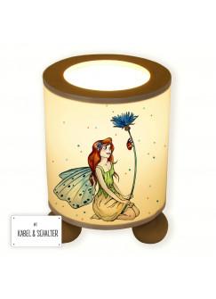 Tischlampe Elfenwiese Lampe mit Fee Elfe Kornblume Marienkäfer und Punkte blau & orange tl078b