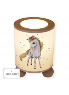 Tischlampe Lampe mit Pferd Pferdchen und Punkte Nachttischlampe Kinderlampe Schlummerlampe mit Schalter tl079
