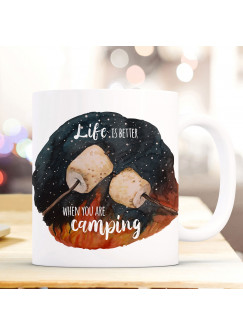 Tasse Becher Marshmallows & Spruch Life is better when you are camping Kaffeebecher Geschenk Spruchbecher ts1004