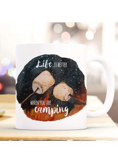 Tasse Becher Marshmallows & Spruch Life is better when you are camping Kaffeebecher Geschenk Spruchbecher ts1004