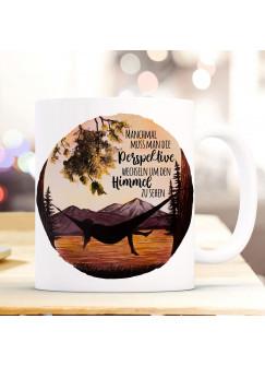 Tasse Becher campen am See Hängematte & Spruch Perspektive wechseln um Himmel sehen Kaffeebecher Geschenk Spruchbecher ts1006