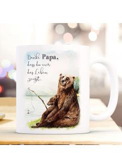 Tasse Becher Bär Bärenpapa Papa mit Junges angeln & Spruch Danke Papa,... Kaffeebecher Geschenk Spruchbecher ts1009