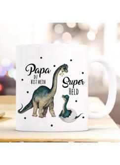 Tasse Becher Dino Dinopapa Papa mit Junges & Spruch Papa du bist mein Superheld Kaffeebecher Geschenk Spruchbecher ts1020