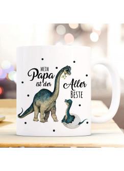 Tasse Becher Dino Dinopapa Papa mit Junges & Spruch Mein Papa ist der Allerbeste Kaffeebecher Geschenk Spruchbecher ts1021