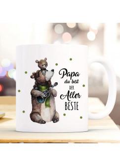 Tasse Becher Bär Bärenpapa Papa mit Junges & Spruch Papa du bist der Allerbeste Kaffeebecher Geschenk Spruchbecher ts1022