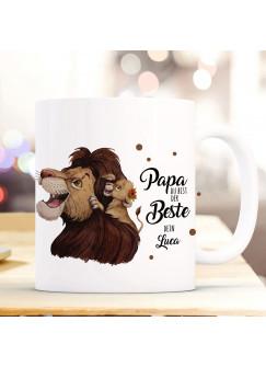 Tasse Becher Löwe Löwenpapa Papa mit Junges & Spruch Papa du bist der Beste Dein Name Wunschname Kaffeebecher Geschenk Spruchbecher ts1024