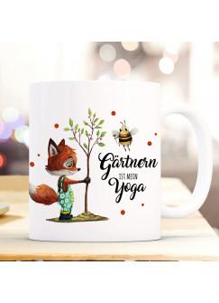 Tasse Becher Fuchs mit Hummel & Spruch Gärtnern ist mein Yoga Kaffeebecher Geschenk Spruchbecher ts1025