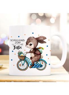 Tasse Becher Hase auf Fahrrad Geschenk Schulstart mit Punkte Name Wunschnamen & Spruch Schulkind 2019 ts1028