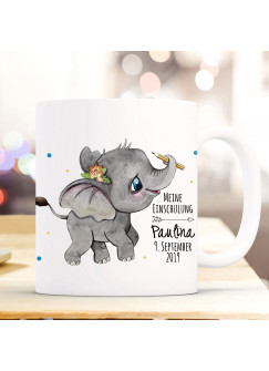 Tasse zur Einschulung Becher Elefant Geschenk Schulstart Punkte Name Wunschnamen Datum & Spruch Meine Einschulung ts1029