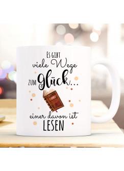 Tasse Becher Kaffeetasse Kaffeebecher mit Buch Punkte & Spruch viele Wege zum Glück...  einer davon ist lesen ts1034