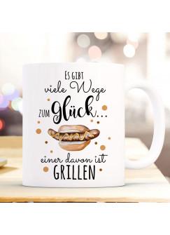 Tasse Becher Kaffeetasse Kaffeebecher mit Bratwurst im Brötchen & Spruch viele Wege zum Glück...  einer davon ist grillen ts1036