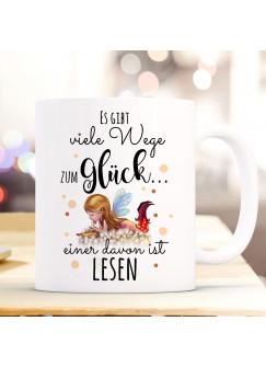 Tasse Becher Kaffeetasse Kaffeebecher Elfe Fee mit Buch & Spruch viele Wege zum Glück...  einer davon ist lesen ts1039