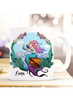 Tasse Becher Meerjungfrau auf Muschel mit Name Wunschname Kaffeebecher Geschenk Spruchbecher ts1040