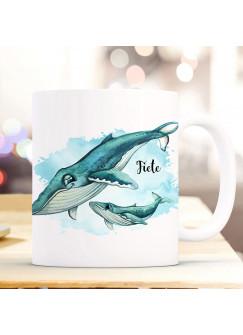 Tasse Becher Kaffeetasse Wal mit Junges Jungtier & Name Wunschname Kaffeebecher Geschenk Spruchbecher ts1041