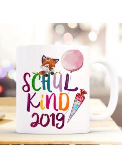 Tasse Becher zur Einschulung Geschenk Schulstart Fuchs Fuchsmädchen Schultüte Spruch Schulkind mit Jahr der Einschulung ts1048