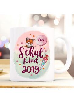 Tasse Becher zum Schulanfang Schulstart Fuchs Fuchsmädchen Schultüte bunte Punkte Schulkind Wunschname + Jahr der Einschulung ts1053