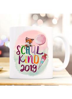 Becher Tasse zum Schulstart Geschenk Fuchs Fuchsmädchen Schultüte Spruch Schulkind & Jahr der Einschulung bunte Schrift ts1055