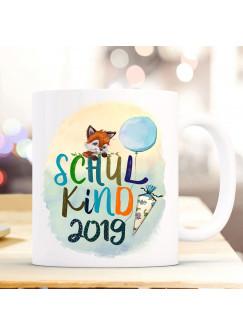 Tasse Becher zum Schulstart Geschenk Schulanfang Fuchs Fuchsjunge Schultüte bunte Schrift Schulkind mit Jahr der Einschulung ts1056