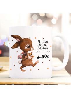 Tasse Becher zur Einschulung Hase mit Rucksack Punkte Spruch heute bin ich Schulkind Wunschnamen Kinderbecher Geschenk ts1060