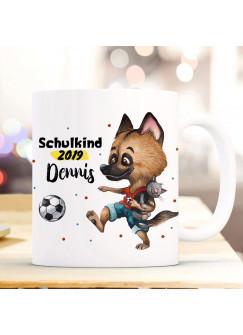 Tasse Becher zur Einschulung Hund Schäferhund mit Fußball Wunschnamen & Jahr der Einschulung bedruckt Kinderbecher Geschenk ts1061