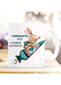 Becher Tasse zum Schulbeginn Hase Häschen auf Raketenschultüte Spruch Kindergarten überlebt. bedruckt Kinderbecher Geschenk ts1062