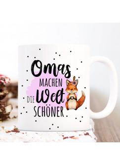 Tasse Becher mit Spruch Omas machen die Welt schöner & Fuchs Herz pink Motiv Kaffeebecher Geschenk Spruchbecher ts1063
