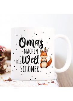 Tasse Becher mit Spruch Omas machen die Welt schöner & Fuchs Herz Motiv Kaffeebecher Geschenk Spruchbecher ts1065