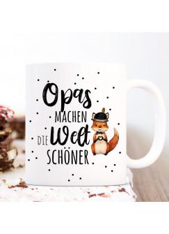 Tasse Becher mit Spruch Opas machen die Welt schöner & Fuchs Herz Hut Motiv Kaffeebecher Geschenk Spruchbecher ts1066