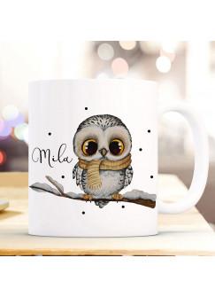 Tasse Becher Eule Eulchen auf Ast Zweig Motiv mit Wunschname Name individuell Kaffeebecher Kaffeetasse Geschenk ts1082