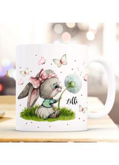 Tasse Becher Kaffeetasse Hase Häschen mit Pusteblume & Name Wunschname Kaffeebecher Geschenk Spruchbecher ts1116
