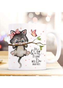 Tasse Becher mit Spruch Die Welt ist schön weil du drauf bist Katze auf Ast Zweig Motiv Kaffeebecher Geschenk Spruchbecher ts1119