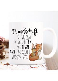 Tasse Becher Fuchs & Hase Spruch Freundschaft ist wie Magie Kaffeetasse Kaffeebecher Geschenk ts1120