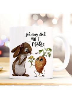 Tasse Hase Häschen mit Karotte & Spruch Ich mag dich volle Möhre ts1122