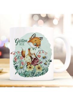 Tasse Becher Kaffeetasse Gartentasse Frau Fuchs Füchschen & Name Wunschname auf Rückseite Kaffeebecher Geschenk ts1123