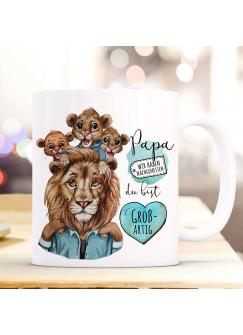Tasse Becher Löwe Löwenpapa Papa mit 3 Jungs Kindern & Spruch Papa du bist großartig Kaffeebecher Geschenk Vatertag ts1139