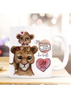 Tasse Becher Löwe Löwenmama Mama mit Kind Löwenmädchen & Spruch Mama du bist großartig Kaffeebecher Geschenk ts1141