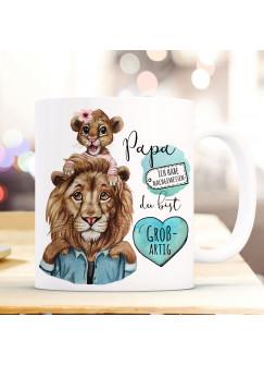 Tasse Becher Löwe Löwenpapa Papa mit Kind Löwenmädchen & Spruch Papa du bist großartig Kaffeebecher Geschenk ts1142