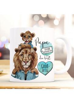 Tasse Becher Löwe Löwenpapa Papa mit Kind Löwenjunge & Spruch Papa du bist großartig Kaffeebecher Geschenk ts1143