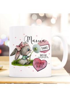 Tasse Becher Hase Häschen mit Pusteblume & Spruch Danke Mama dass du immer für mich da bist Kaffeebecher Geschenk ts1144