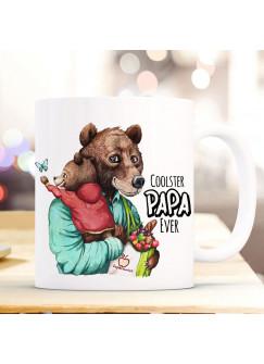 Tasse Becher Bär Bärenpapa Papa mit Bärenjunge & Spruch Cooster Papa Ever Kaffeebecher Geschenk Vatertag ts1147
