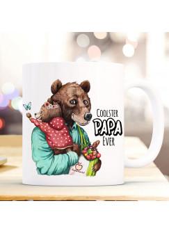Tasse Becher Bär Bärenpapa Papa mit Bärenmädchen & Spruch Cooster Papa Ever Kaffeebecher Geschenk Vatertag ts1148