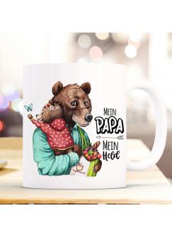 Tasse Becher Bär Bärenpapa Papa mit Bärenmädchen & Spruch Mein Papa Mein Held Kaffeebecher Geschenk Vatertag ts1149