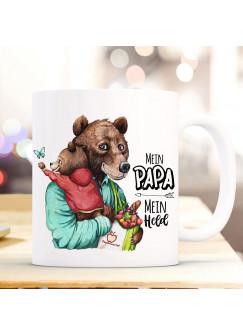Tasse Becher Bär Bärenpapa Papa mit Bärenjunge & Spruch Mein Papa Mein Held Kaffeebecher Geschenk Vatertag ts1150