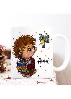 Tasse Becher Kaffeetasse Igel mit Vogel & Name Wunschname Kaffeebecher Geschenk Spruchbecher ts1163